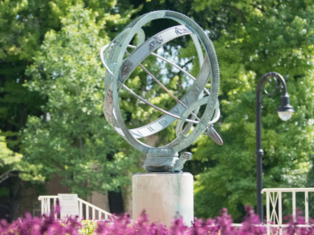 The Armillary Sphere outside Old Main on Penn State's University Park campus.